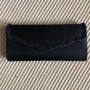 Black satin clutch